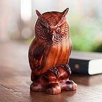 Wood statuette, 'Crested Owl' - Fair Trade Wood Bird Sculpture