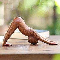 Wood statuette Downward Facing Dog Indonesia
