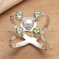 Cultured pearl and peridot cocktail ring, 'Orbits' - Artisan Crafted Peridot and Pearl Ring
