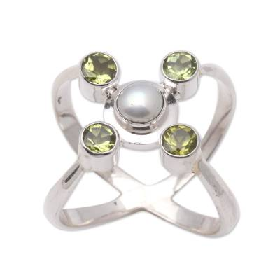 Artisan Crafted Peridot and Pearl Ring
