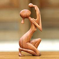 Wood sculpture, 'Moment of Tenderness' (Indonesia)