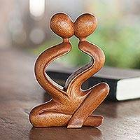 Wood sculpture, 'Heartfelt Kiss' - Romantic Wood Sculpture