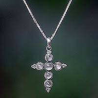 Moonstone cross necklace, 'Traveler'