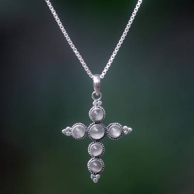 Moonstone cross necklace, 'Traveler' - Moonstone Sterling Silver Cross Necklace
