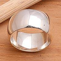 Men's sterling silver ring, 'Peace' - Men's Sterling Silver Band Ring
