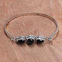 Onyx bangle bracelet, 'Vision of Loveliness' - Onyx bangle bracelet