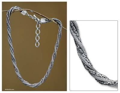 Sterling silver necklace, 'Weave of Life' - Sterling silver necklace