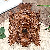 Wood mask, 'Judge of the Netherworld' - Fair Trade Cultural Wood Mask
