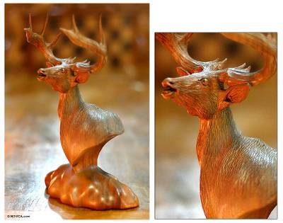 Wood statuette, 'Proud Stag' - Wood Statuette from Indonesia