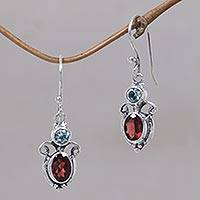 Garnet and blue topaz dangle earrings, 'Fire and Ice'