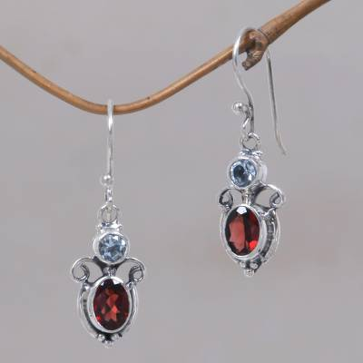 Garnet and blue topaz dangle earrings, Fire and Ice