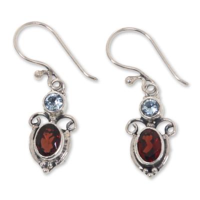 Garnet Sterling Silver Dangle Earrings