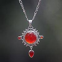 Carnelian pendant necklace, 'Radiant Sun' - Carnelian Sterling Silver Pendant Necklace