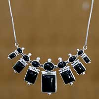 Onyx waterfall necklace, 'Evening Soul' - Onyx and Sterling Silver Necklace