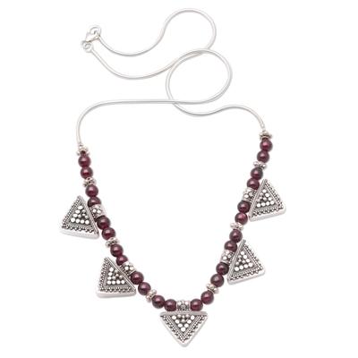 Garnet Sterling Silver Pendant Necklace