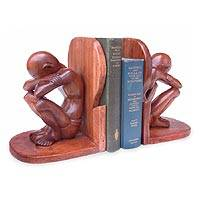 Wood bookends, 'Thoughtful Man' (pair) - Wood bookends (Pair)
