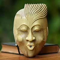Wood mask, 'The Whistler' - Unique Modern Wood Mask