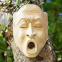 Wood mask, 'Big Yawn' - Wood mask