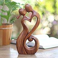 Wood sculpture, 'Everlasting Kiss' - Romantic Suar Wood Sculpture