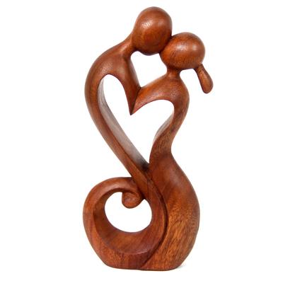 Wood sculpture, 'Everlasting Kiss' - Romantic Suar Wood Sculpture
