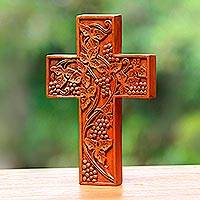 Mahogany cross, 'Parable of the Vine' - Handcarved Mahogany Wood Wall Cross