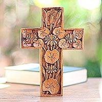 Wood cross, 'Lotus Blossoms' - Hand Carved Wood Wall Cross