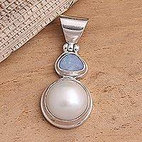 Cultured pearl and opal pendant, 'Eclipse of White' - Cultured pearl and opal pendant