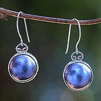 Pearl dangle earrings, 'Blue Moon' - Sterling Silver Pearl Dangle Earrings