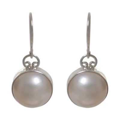 Sterling Silver Pearl Bridal Dangle Earrings