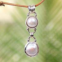 Cultured freshwater pearl pendant, 'Somewhere Between' - Sterling Silver and Cultured Pearl Pendant from Bali