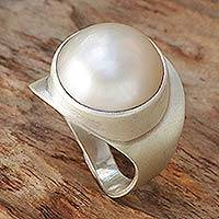 Cultured pearl ring, 'New Moon' - Cultured Pearl Ring