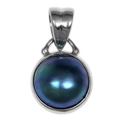 Modern Sterling Silver and Pearl Pendant from Indonesia