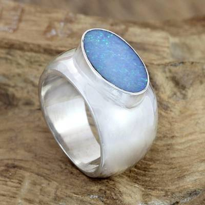 ruby ring by andrew geoffrey - Modern Opal and Silver Ring
