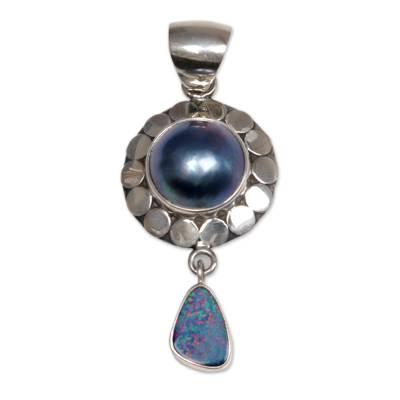 Artisan Crafted Pearl and Opal Pendant