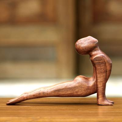 Wood sculpture, 'Yoga Cobra Pose' - Original Wood Sculpture