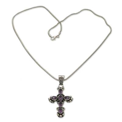 Amethyst Sterling Silver Cross Necklace