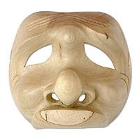 Wood mask, 'Frowning Man' - Artisan Crafted Wood Mask