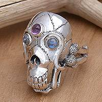 Men's rainbow moonstone and amethyst ring, 'Immortal' - Men's Indonesian Silver and Amethyst Skull Ring