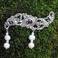 Cultured pearl and amethyst brooch pin, 'Misty Dew' - Amethyst and Pearl Sterling Silver Brooch Pin