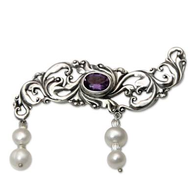 Amethyst and Pearl Sterling Silver Brooch Pin