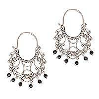 Onyx chandelier earrings, 'Fantasy' - Onyx Sterling Silver Chandelier Earrings