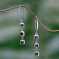 Garnet dangle earrings, 'Hit by Fire' - Garnet dangle earrings