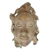 Wood mask, 'Smiling Goddess' - Wood mask