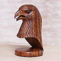 Wood sculpture, 'Eagle's Gaze' - Hand-Carved Bird Sculpture in Balinese Suar Wood