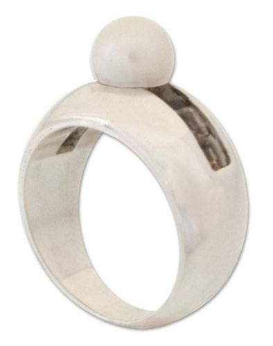 Modern Pearl and Quartz Ring