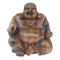 Wood statuette, Laughing Buddha