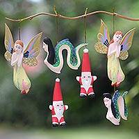 Wood ornaments Christmas in Bali set of 6 Indonesia
