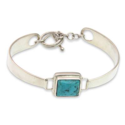 Sterling Silver Turquoise Wristband Bracelet