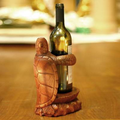 Wood wine bottle holder, 'Gift from the Sea' - Carved Wood Turtle Wine Bottle Holder