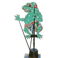Leather shadow puppet, 'Frog-Man Prince' - Leather shadow puppet